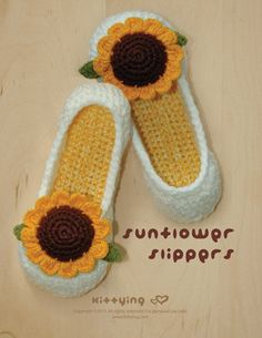 Узор подсолнуха вязание крючком женские тапочки дом обуви - женские размеры от 5 до 10 & подсолнуха крючком аппликация (SFW01-у-ПЭТ)