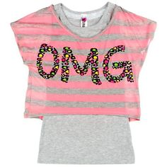 Beautees 7-16 OMG Stripe Duet Top NEON PINK X-Lg 16From #Beautees Price: $16.80 Availability: Usually ships in 1-2 business daysShips From #and sold by Bealls Florida