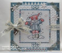 Card by DT member Anja with Clear Stamp Snoesjes I Love Snow (HM9458), Design Folder Extra Knitting (DF3418) and Craftables Punch Die - Snowflakes (CR1335) by Marianne Design