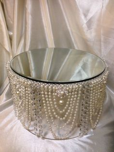 Stunning Vintage inspired Pearl & crystal design cake stand All our wedding items are lovingly hand made to order so please allow up to 20-30 working days for them to be dispatched to you as we have long waiting lists for our items Sizes:6- 8-10-12- 14 - 16 - 18 20 round or square shape by 8 inches tall They also look great when used in between the cakes as well for a matching separator /stand look please choose the items you require from the menu Choose from ivory pearl and gol...