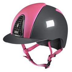 KEP Italia fits your dreams and lets you chose between colors, materials and finishings ...  This model has pink front and back inserts in a grey polish outer cap and a black grid.  The 5 connection points leather straps are in pink matching color: a superior expressione of safety and style!