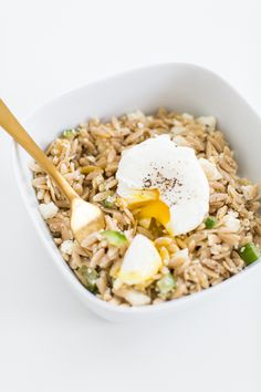 Dill orzo salad with a poached egg.