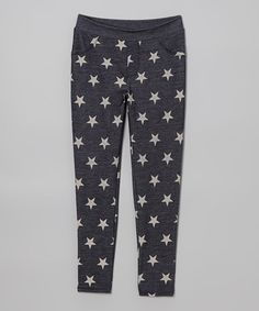 Take a look at this Navy & Cream Star Jeggings by L.A. Movers on #zulily today!