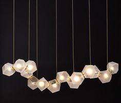 WELLES GLASS Long Chandelier by Gabriel Scott | General lighting