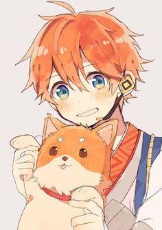 Anime boy w cat.