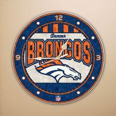 df0497dfeaf Denver Broncos Art Glass Clock  denverbroncos  broncos  gifts  mancave Nfl Denver  Broncos