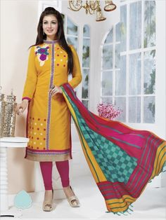 Yellow Formal Chanderi Suit
