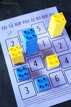 H& Matematiikkapeli: Heit& noppaa ja rakenna + PDF Throw dice and build a math game. You can use one or 2 dice. and Duplos, Legos or Linking Cubes. Shake a die, build a lego tower for that number Montessori aktivity pre deti na každý deň Origami Heart Kindergarten Math Games, Learning Activities, Toddler Activities, Preschool Activities, Math Math, Teaching Kids, Kids Learning, Math For Kids, Kids Education