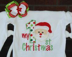2 pc. Baby Girl My 1st Christmas Bodysuit and Hair Bow! Santa Christmas outfit for baby girls/Girls Santa outfit/First Christmas outfit
