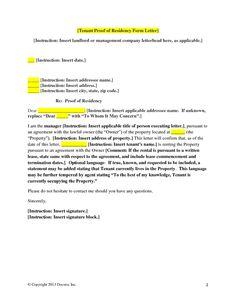 proof of residency letter samples
