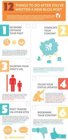 9 infografías imprescindibles para bloggers. 12 acciones que debes hacer después de escribir un post.