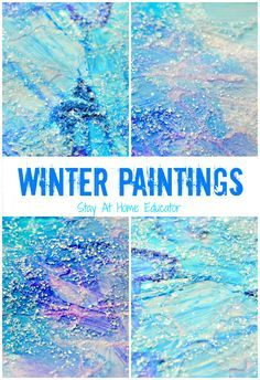 Sparkly Mixed Media Winter Paintings - Stay At Home Educator