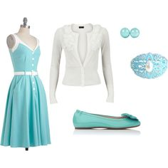 """""""Blue and White dress set"""" by charityjones on Polyvore"""