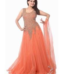 Buy Orange embroidered Net unstitched salwar with dupatta dress-material online