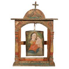 Spanish Colonial Altar Frame with Suspended Retablo - Mexico 19th century