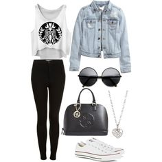 Yesss by ivonneorio on Polyvore featuring polyvore, moda, style, H&M, Topshop, Converse, GUESS and Finn