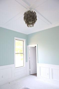 Bedroom wall color is Palladian Blue Benjamin Moore. Bower Power.
