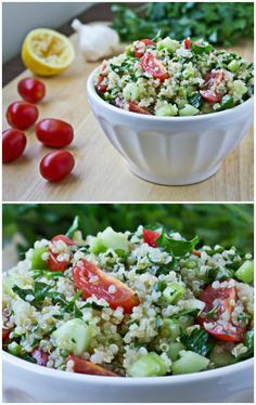 Quinoa Tabbouleh pairs the ancient super grain with fresh herbs, sweet tomatoes, crunchy cucumbers and fresh lemon juice to make a tasty, vegan side dish.