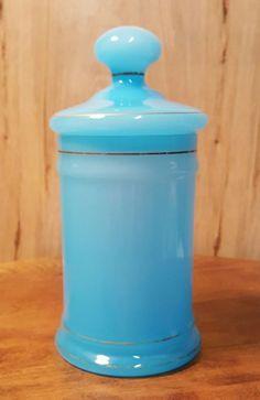 Vintage BLUE Opaque GLASS COVERED JAR ~ Genie Powder APOTHECARY ~ ITALY Empoli ? #Blue #Glass #Apothecary #Powder #Jar #Italy