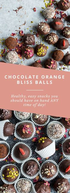 Healthy, vegan chocolate orange bliss balls. The perfect snack to have on hand any time