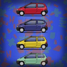 Renault Twingo (1993) –Following the initial concept and the tradition of the #R4 to build a simple and affordable car, #Renault offered the #RenaultTwingo with only one trim level, four exterior colors and a vibrant upholstery. The price was 50,000 French Francs, by today's value around 8,000 USD. ©2016 Tom Mayer, Monkey Crisis On Mars –All Rights Reserved