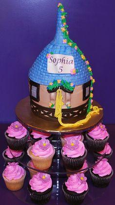 Tara's Cupcakes: Rapunzel from Tangled movie cake and cupcakes