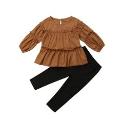 Autumn Toddler Girls Kids Pleated T-shirt Blouse+Skinny Legging Pants Outfits Set Kids Outfits Girls, Toddler Girl Outfits, Toddler Fashion, Kids Fashion, Fashion Blogs, Baby Outfits, Toddler Girls, Fashion Trends, Pants Outfits