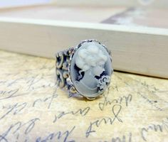 Victorian Cameo Ring with Lace Band $18.00