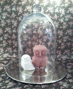 twit twoo! candle and ceramic owls in stylish glass cloche. Nook Interior Design.