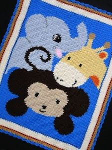 hayvan desenli örgü bebek battaniyesi