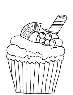 Mis Hojas de Papel: Sellos Digitales, cupcake, kiwi  muffin, Cupcake Drawing, Cupcake Art, Coloring For Kids, Adult Coloring, Paint And Drink, Coloring Book Pages, Vintage Labels, Digi Stamps, Paint Party