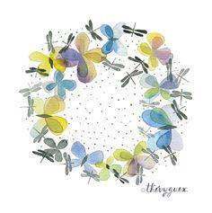 le blog de Thévy!: Couronne Papillon et Libellule***Butterfly and Dragonfly Wreath