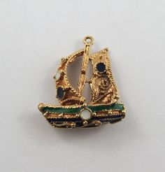 Enamel Ship 18 Karat Gold Vintage Charm For by SilverHillz on Etsy