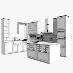 Ikea bodbyn 3D - TurboSquid 1195775 Ikea Bodbyn Kitchen, 3d Max, Home Organization, Double Vanity, Architecture, House, Kitchen Ideas, Home Decor, Kitchens
