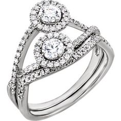 14kt White 5mm Round Engagement Ring Mounting