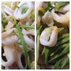 Home made fresh pasta with zucchini and calamari!