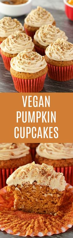Rich, moist and tall vegan pumpkin cupcakes topped with a velvety pumpkin spice frosting and crushed pecans. Beautifully colorful and fall inspired. Vegan | Vegan cupcakes | Vegan cakes | Vegan Dessert #vegan #vegancupcakes #pumpkin #dessert #vegancake | lovingitvegan.com