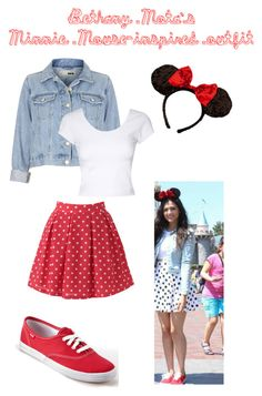 """""""Bethany Mota's Minnie Mouse-inspired outfit"""" by pinupcokes ❤ liked on Polyvore featuring Topshop, Keds, Jane Norman, disney, disneybound, bethanymota and minniemouse"""