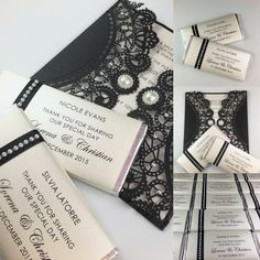 A stylish black and Ivory combination, custom made chocolate bar favors also personalised to be used as place card settings.   Invitation & chocolate bars made by Over the Rainbow Invites