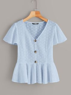 To find out about the Flutter Sleeve Button Front Schiffy Peplum Top at SHEIN, part of our latest Blouses ready to shop online today! Fashion News, Fashion Outfits, Summer Shirts, Summer Blouses, Lingerie Sleepwear, Flutter Sleeve, Types Of Sleeves, Blouse Designs, Sleeve Styles
