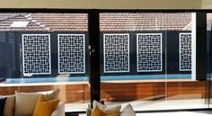 'Cairo' cut in ACM used as wall decor alongside a pool, view from the lounge. Decorative screens add interest to otherwise boring walls, indoors or outdoors! Screened Pool, Laser Cut Screens, Security Screen, Garden Screening, Decorative Screens, Screen Design, Panel, Contemporary Decor, Restaurant Design