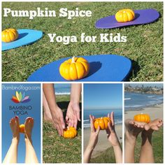 Pumpkin Spice Yoga for Kids - use mini-pumpkins as a fun prop for kid's yoga. They are an inexpensive and natural way to spice up your class. Look for ones that have short stems. Here's how.... -Set up mats in a circle with a pumpkin on each mat. Write your name on the bottom of your pumpkin. (Or write it for them ahead of time). Give a few sprays of a spicy essential oil- ...