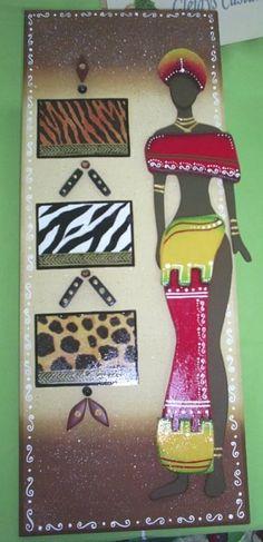 CUADROS AFRICANOS EN MADERA CON DECOUPAGE! | Aprender manualidades es facilisimo.com African Jungle, African Theme, African Artwork, African Paintings, Decoupage, African American Art, African Women, African Quilts, Art Africain