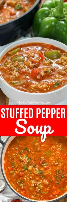Stuffed Pepper Soup is an easy soup recipe. In this family favorite, ground beef and sausage is simmered along with bell peppers, tomatoes and seasonings. Add in rice to serve. It freezes well and reheats beautifully! recipes with ground beef Diet Soup Recipes, Slow Cooker Recipes, Cooking Recipes, Easy Recipes, Paleo Soup, Stuffed Pepper Soup, Stuffed Peppers, Cabbage Diet, Ground Beef Recipes