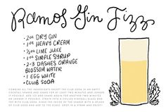 Friday Happy Hour: The Ramos Gin Fizz Cocktail Recipe Card / Illustration by Shauna Lynn / Recipe by Liquorary for Oh So Beautiful Paper