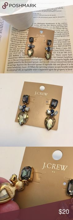 """J. Crew Factory • Crystal Fan Earrings PRODUCT DETAILS Dramatic crystal earrings = favorite finishing touch.  Zinc casting, epoxy stones, acrylic stones. 2"""" length, post style. NWT J. Crew Factory Jewelry Earrings"""