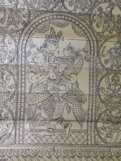 August 2014 Saree Painting, Kalamkari Painting, Krishna Painting, Madhubani Painting, Krishna Art, Mural Painting, Fabric Painting, Indian Traditional Paintings, Indian Paintings