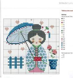 0 point de croix japonaise geisha ombrelle bleu - cross stitch japanese woman geisha with blue parasol