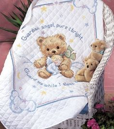 Cuddly Bear Stamped Cross Stitch Quilt , hi-res Beaded Cross Stitch, Cross Stitch Kits, Cross Stitch Designs, Cross Stitch Patterns, Cross Stitch Baby Blanket, Cross Stitch Finishing, Joanns Fabric And Crafts, Sewing Projects, Slippers