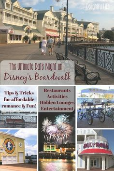 Ideas and resources for the perfect date night in Walt Disney World. A night with no kids on Disney's Boardwalk, including great restaurants, activities, fireworks viewing, entertainment, and more!